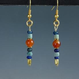 Earrings with Egyptian faience, carnelian, glass beads