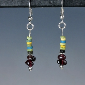 Earrings with Egyptian faience and garnet beads