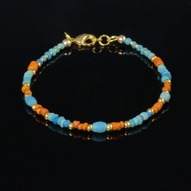 Bracelet with Roman turquoise and orange glass beads