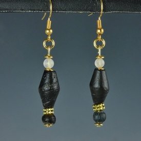 Earrings with Roman black glass beads