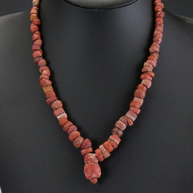 Necklace with Roman red glass beads