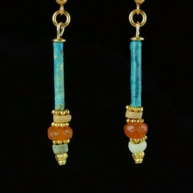 Earrings with Egyptian faience and carnelian beads