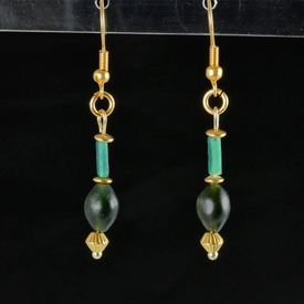Earrings with Roman green glass and stone beads