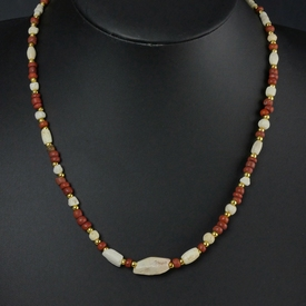 Necklace with Roman red glass, shell and carnelian beads