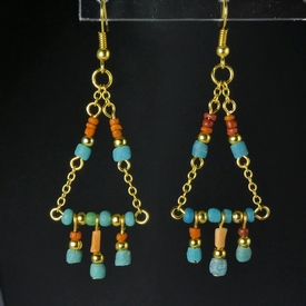 Earrings with Roman turquoise, orange glass and coral beads