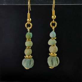 Earrings with Egyptian faience and melon beads