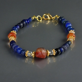 Bracelet with Roman blue glass and carnelian beads