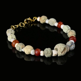 Bracelet with Egyptian faience, stone and carnelian beads