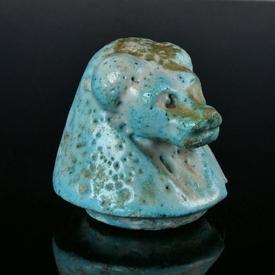 Ancient Egypt, glazed faience Canopic jar lid, Hapi