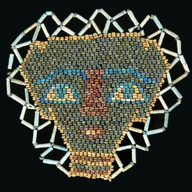 Ancient Egypt, faience beaded mask with double border