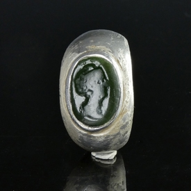 Roman silver ring, stone intaglio of Faustina the Elder