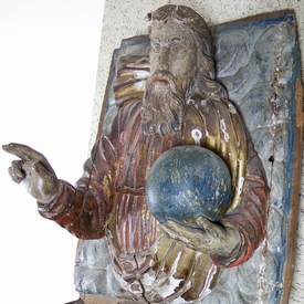 Swabian school, large polychrome panel of Christ as Saviour