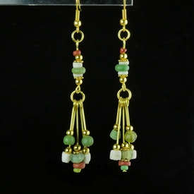 Earrings with Roman green, red glass and shell beads