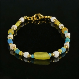 Bracelet with Roman turquoise, yellow glass and shell beads
