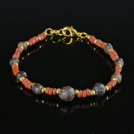 Bracelet with Roman red and purple glass beads
