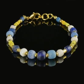 Bracelet with Roman blue, yellow glass and shell beads