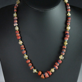 Necklace with Roman red, blue and semi-translucent beads