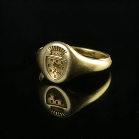 France, gold armorial seal ring, arms of Dukes of Nevers