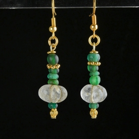Earrings with Roman green glass and crystal melon beads