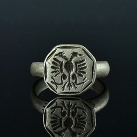 Silver seal ring with double-headed eagle