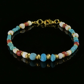 Bracelet with Roman turquoise, red glass and shell beads