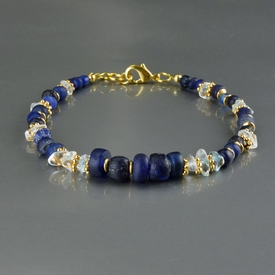 Bracelet with Roman blue glass and rock crystal beads