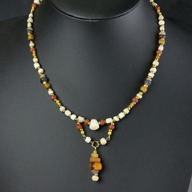 Necklace with Roman multicoloured glass, shell, stone beads