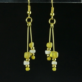 Earrings with Roman yellow glass and shell beads