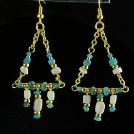 Earrings with Roman turquoise glass, shell and stone beads
