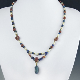 Necklace with Roman blue, red glass and shell beads