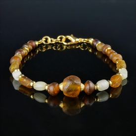 Bracelet with Roman white and amber colour glass beads