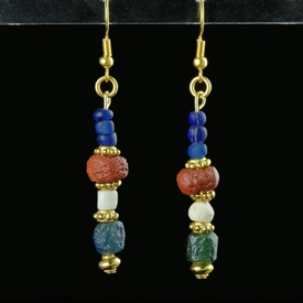 Earrings with Roman blue, red glass and shell beads