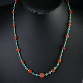 Necklace with Roman turquoise and red glass beads