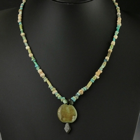Necklace with Egyptian semi-precious stone, shell, faience
