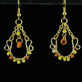 Earrings with Roman yellow and orange glass beads