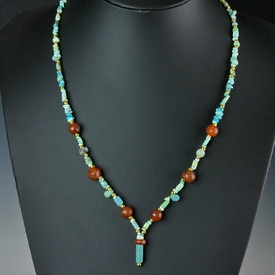 Necklace with Egyptian turquoise and carnelian beads