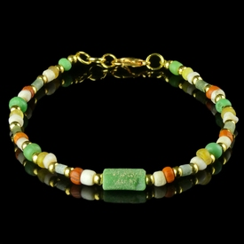 Bracelet with Roman green, orange, yellow glass and shell