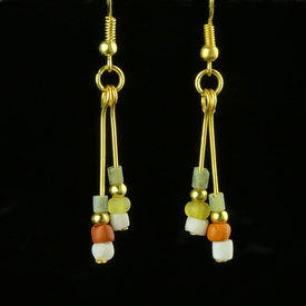 Earrings with Roman multicoloured glass and shell beads