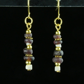 Earrings with Roman purple glass and shell beads
