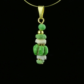 Pendant with Roman green glass and shell beads