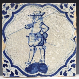 Dutch Delft blue and white tile, soldier