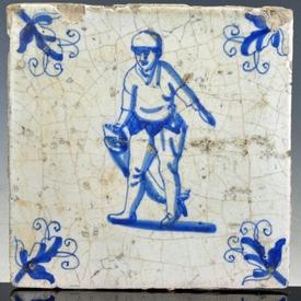 Dutch Delft blue and white tile, fisherman