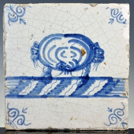 Dutch Delft blue and white tile, crab