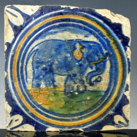 Dutch Delft polychrome tile, elephant in circle, majolica