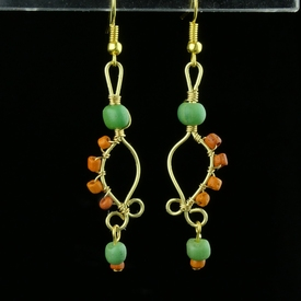Earrings with Roman green and orange glass beads
