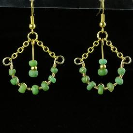 Earrings with Roman green glass beads