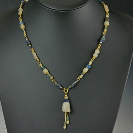 Necklace with Roman blue and semi-translucent glass beads