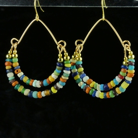 Earrings with Roman multicolour glass and shell beads
