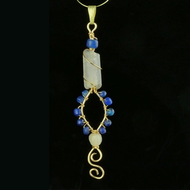 Pendant with Roman blue and semi-translucent glass beads