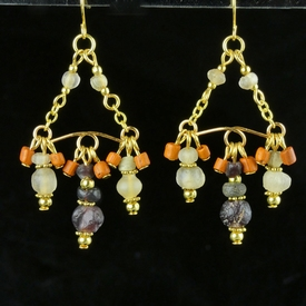 Earrings with Roman purple, semi-translucent, orange glass